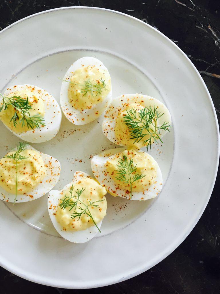 Creamy Garlic + Dill Devilled Eggs