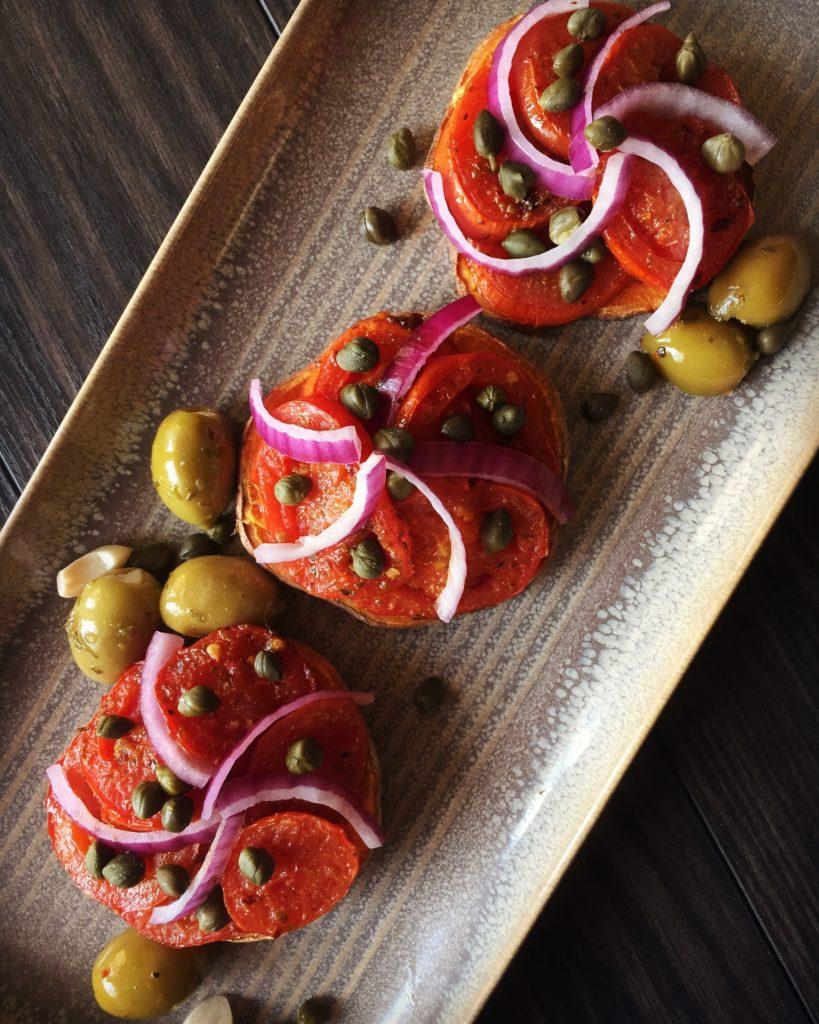 Tomato Confit on Sweet Potato