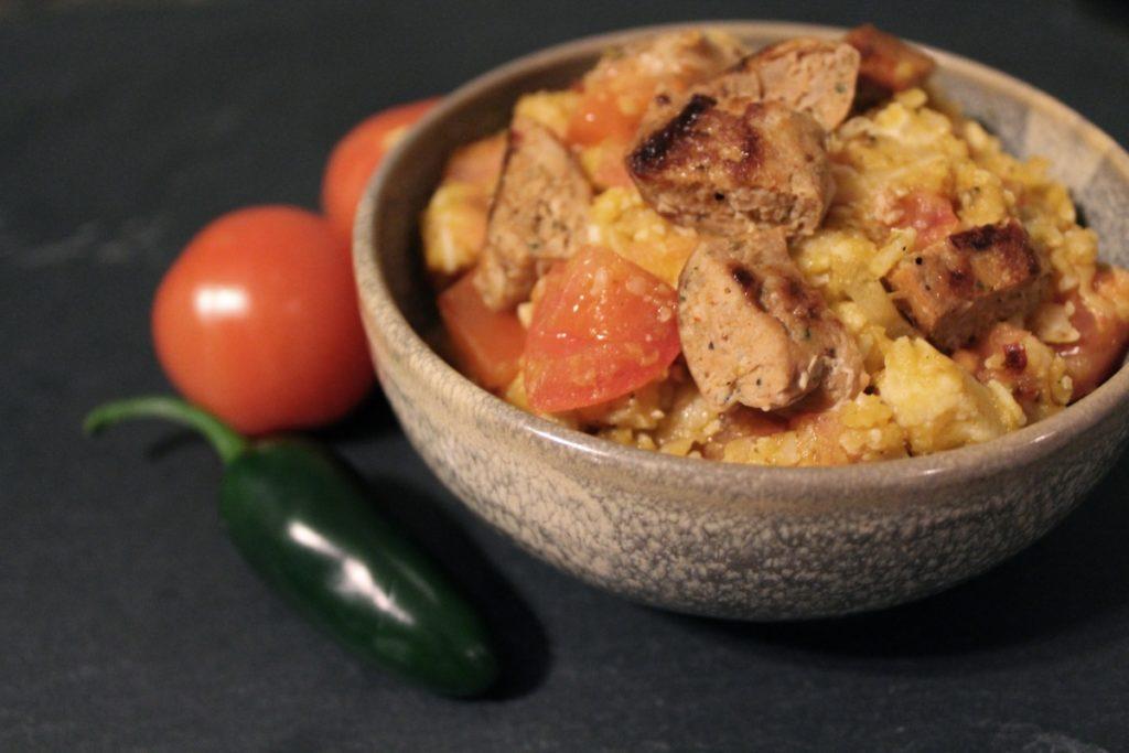 Cauliflower Risotto with Chicken Sausage