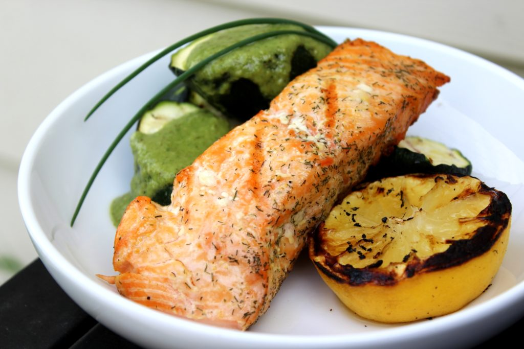 Grilled Salmon + Zucchini