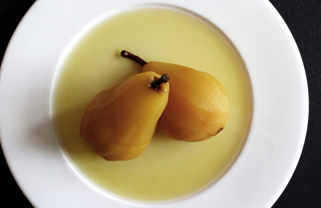 Coconut Water Poached Pears